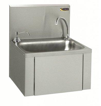 Sofinor Edelstahl-Waschbecken | Knie-Bedienung | + Seifenspender chrom | Low Water | 460x380x (H) 524 mm