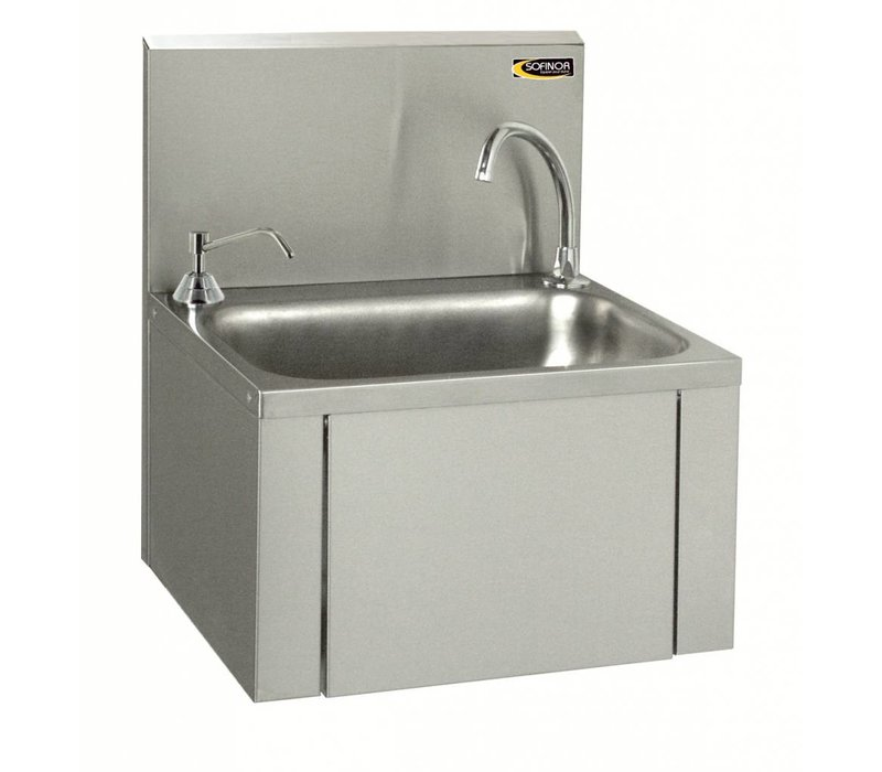 Sofinor RVS Wasbak | Kniebediening | + Zeep dispenser chroom | Laag Waterverbruik | 460x380x(H)524mm