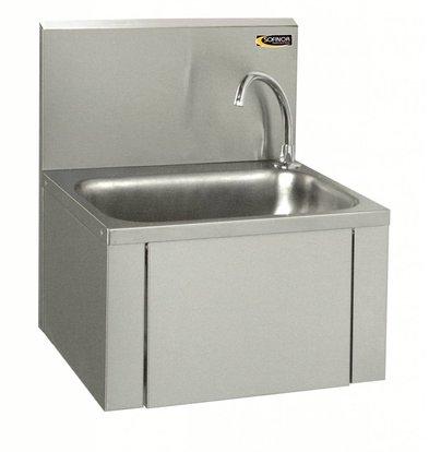 Sofinor Edelstahl-Waschbecken | Knie-Bedienung | + Seifenspender | Low Water | 460x380x (H) 524 mm