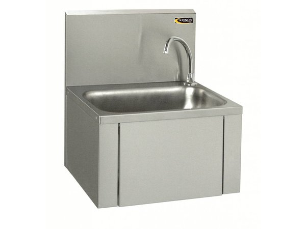 Sofinor RVS Wasbak | Kniebediening | + Zeep dispenser | Laag Waterverbruik | 460x380x(H)524mm