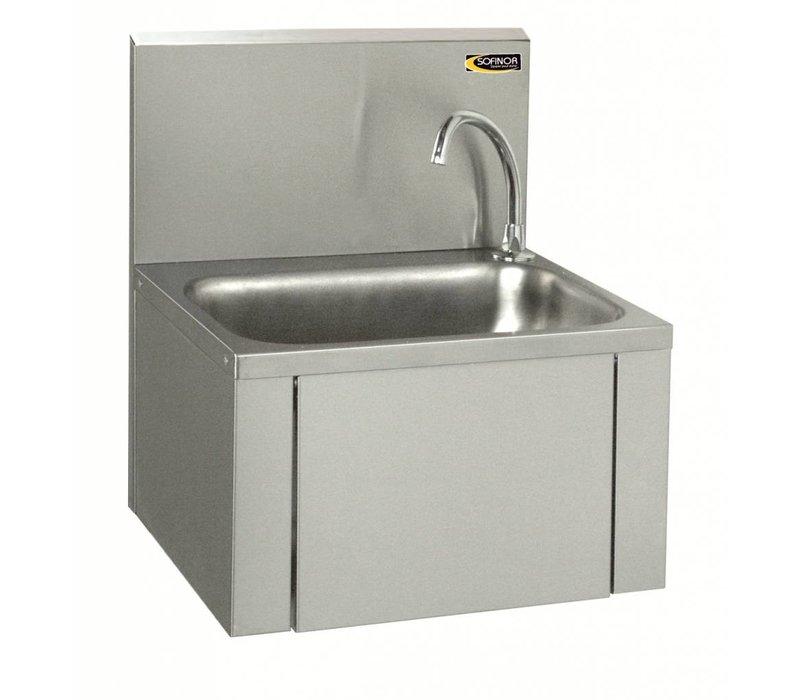 Sofinor Edelstahl-Waschbecken   Knie-Bedienung   + Seifenspender   Low Water   460x380x (H) 524 mm
