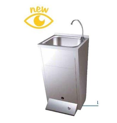 Sofinor Edelstahl-Waschbecken | Fuß-Bedienung | mit Afvalbak | Premix warm / kalt | 450x450x (H) 900mm