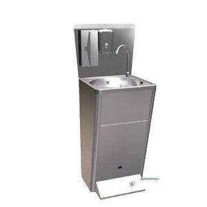 Sofinor RVS Wasbak   Voetbediening   met afvalbak   Deluxe   + Zeep Dispenser   450x450x900mm