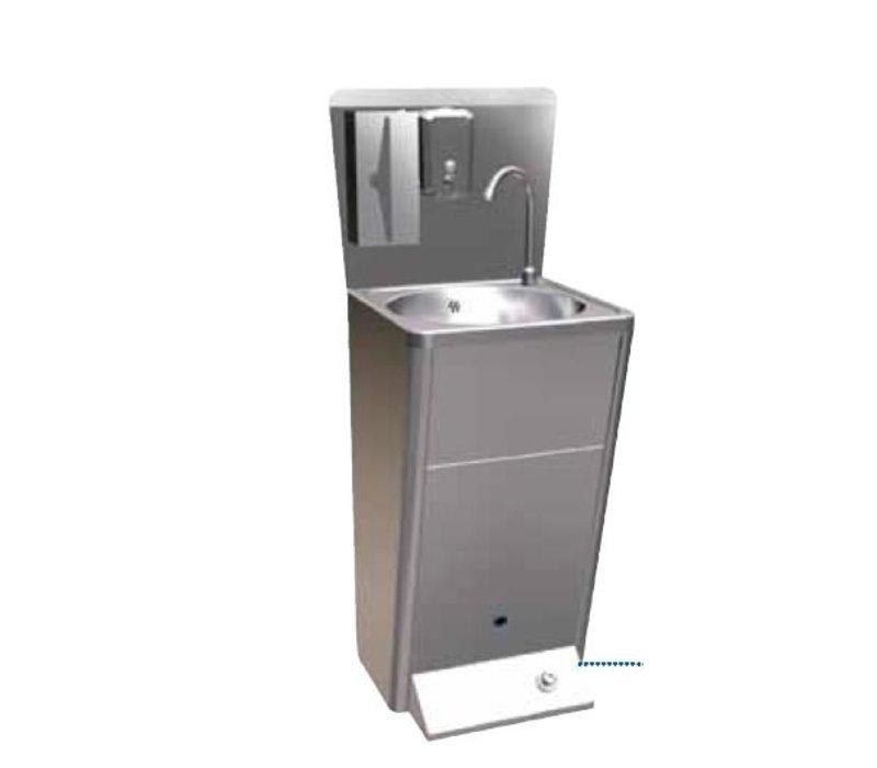 Sofinor RVS Wasbak | Voetbediening | met afvalbak | Deluxe | + Zeep Dispenser | 450x450x900mm