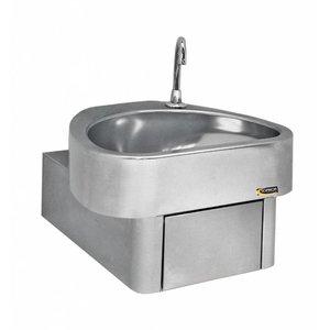 Sofinor Edelstahl-Handwaschbecken | Knie-Bedienung | CLINIUM | Krankenhaus-Modell | 460x436x (H) 270mm