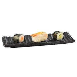 APS Sushi Tray | Zwart | Fusion | Melamine | Stapelbaar | 23,5x7,5x(H)2cm