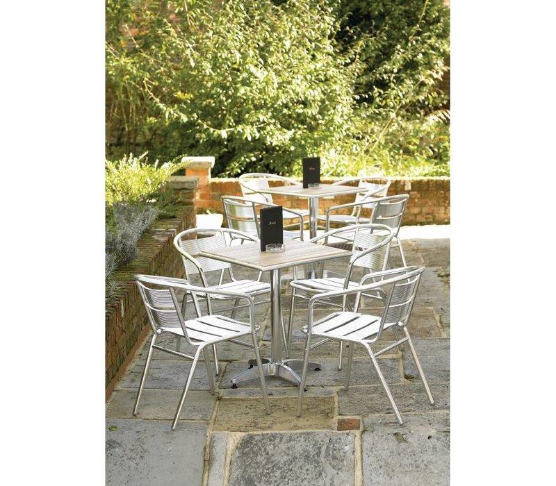 Bolero Square Bistro Table - Aluminum frame - with ash Tabletop - 72 (h) x60x60cm