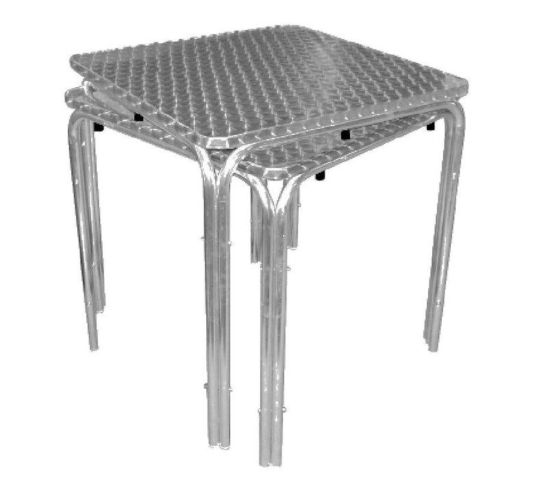 Bolero Stapelbare Tisch RVS - Aluminiumrahmen - Arbeitsplatte aus Edelstahl - 72 (H) x70x70cm