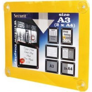 Securit Fenster Plakatanzeige Gelb A3