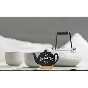 Securit Chalkboard Table Wood Silhouette Teapot 3 pieces incl. Chalk Stift