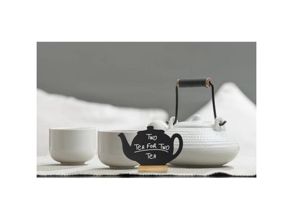Securit Chalkboard Table Wood Silhouette Teapot 3 pieces incl. Chalk Stift