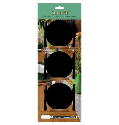 Securit Chalkboard Table Wood Silhouette Plate 3 pcs incl. Chalk Stift