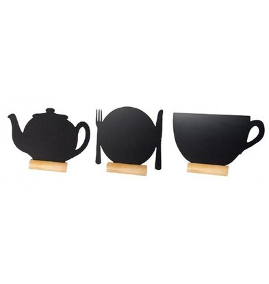 Securit Chalkboard Table Wood Silhouette Mix 3 pieces incl. Chalk Stift