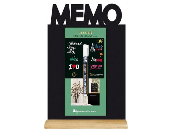 Securit Chalkboard Table Wood Silhouette Memo Incl. Chalk Stift