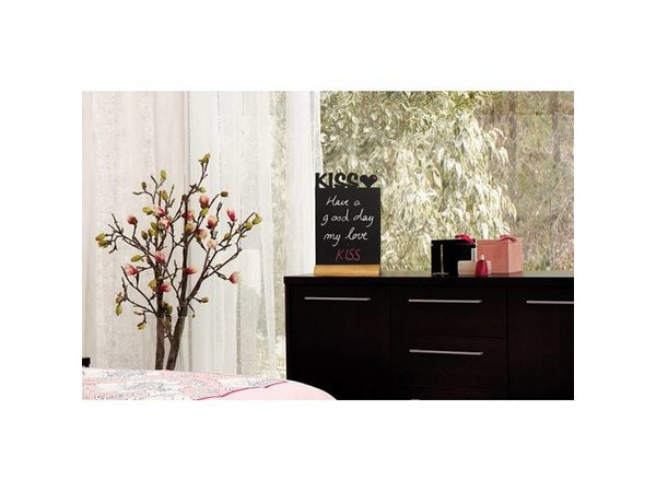 Securit Chalkboard Table Wood Silhouette Kiss Incl. Chalk Stift