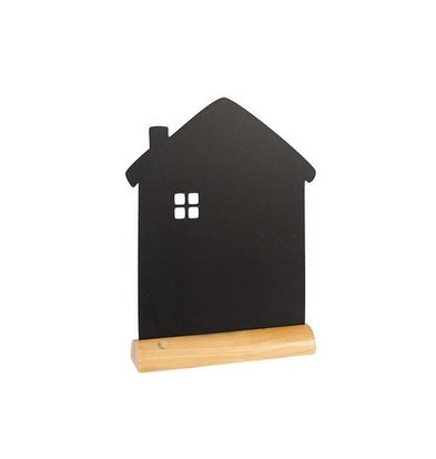 Securit Chalkboard Table Wood Silhouette House Incl. Chalk Stift