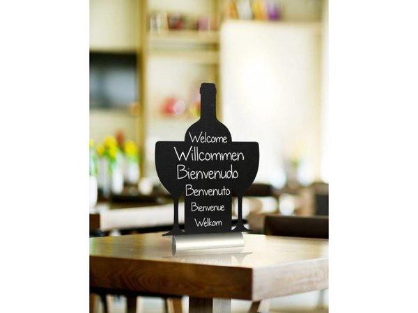 Securit Tafel-Tabelle Aluminium Silhouette Wein Inkl. Chalk Stift