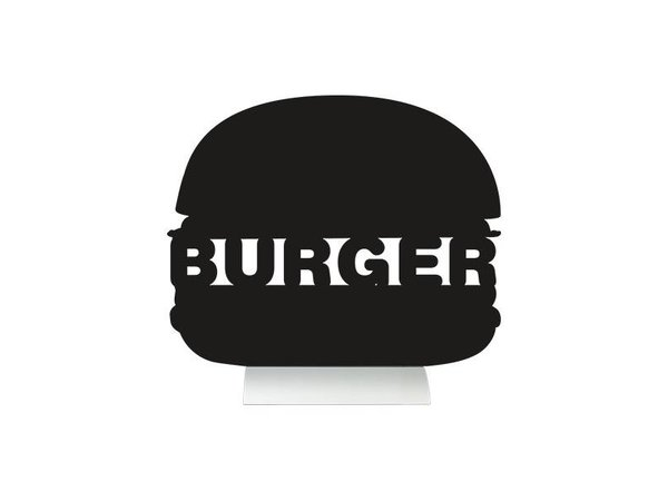 Securit Chalkboard Table Aluminium Silhouette Burger Incl. Chalk Stift