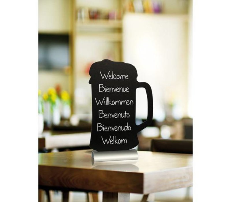 Securit Chalkboard Table Aluminium Silhouette Beer Incl. Chalk Stift
