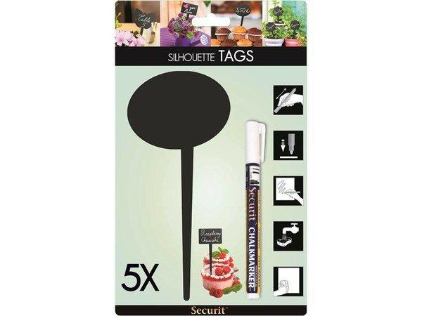 Securit Tag Silhouette Bubble 5x - Incl 1 Chalk Stift