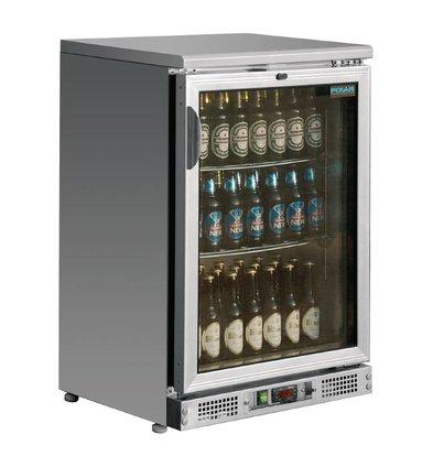 Polar Bar Kühlschrank Einzel-Pendeltür mit Edelstahl - 104 330ml Flaschen - 140 Liter - 600x520x (H) 920mm
