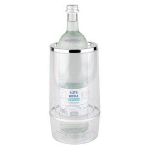 APS Flaschenkühler doppelwandig - Transparent Acrylic + Chrom Rim - Ø12cm x 23 (H) cm - Geschenk-Box