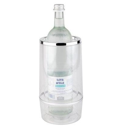APS Bottle Cooler Double-walled - Transparent Acrylic + Chrome Rim - Ø 12 cm x 23 (H) cm - GIFT BOX