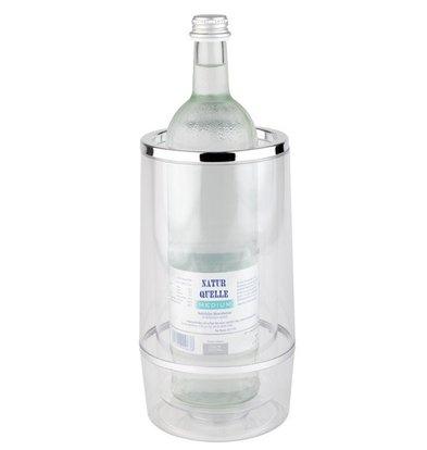 APS Flaschenkühler doppelwandig - Transparent Acrylic + Chrom Rim - Ø 12 cm x 23 (H) cm - Geschenk-Box