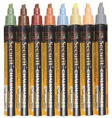 Securit Kreidemarkern Thin - 8 Stück - Erdfarben - Farbmischung - 2/6 mm