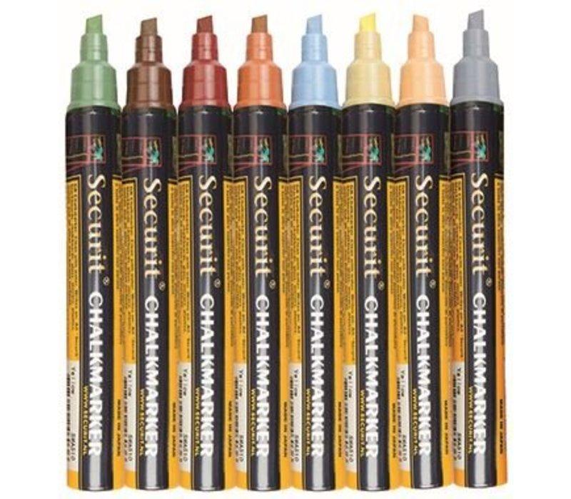 Securit Dunne Krijtstiften - 8 stuks - EARTH Kleuren - KLEURENMIX - 2/6mm