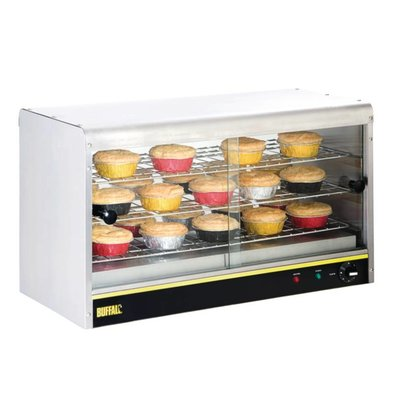 Buffalo Warming Vitrinen RVS - 3 Roosters - 2 Schiebefenster - LED-Beleuchtung - 745x330x (h) 430mm