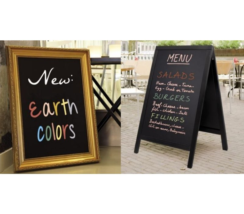 Securit Thin Chalk Markers - 8 pieces - EARTH colors - color mix - 2 / 6mm