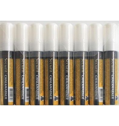 Securit Securit Thick Chalk Markers XXL - 8 pieces - WHITE - 7/15 mm