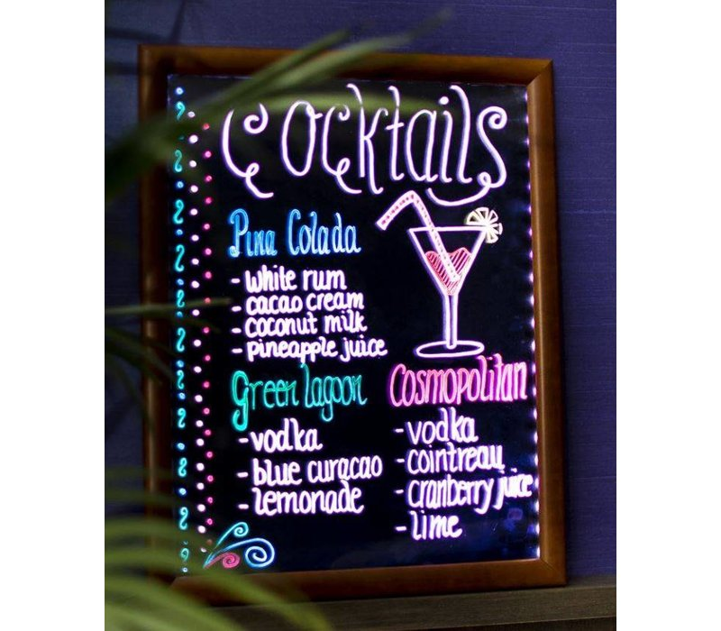 Securit Chalkboard with LED lighting - 62 x 100 cm - Incl. Chalk Stift