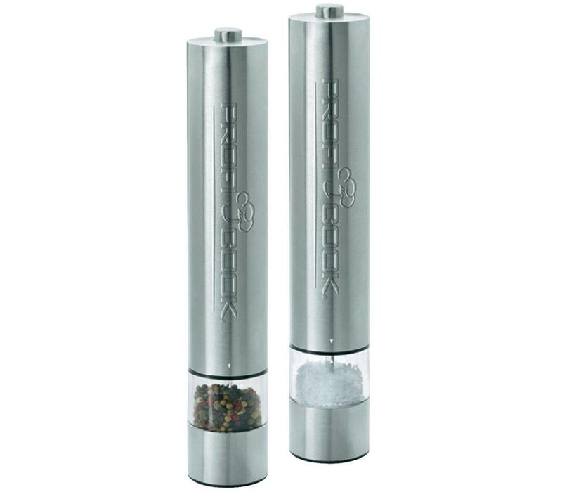 Proficook Pepper and Salt Mill Set - Automatic with Push - Lighting at Bottom - 31 (h) cm - VIDEO