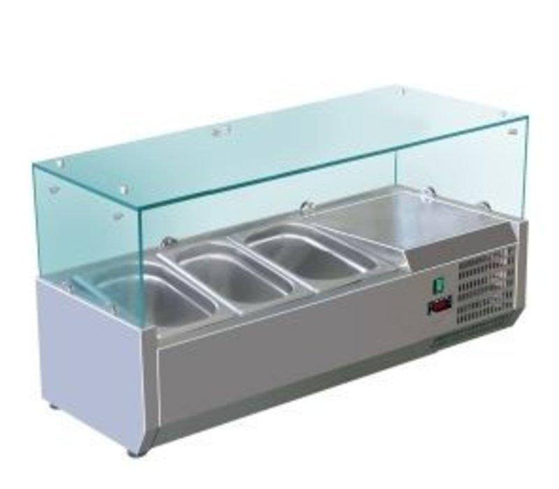 Saro Opzetkoelvitrine RVS met Glas Top - 3x 1/3 GN of 6x 1/6 GN - 95,5x38x(H)43,5 cm