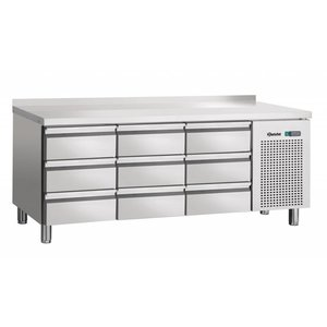 Bartscher Koelwerkbank - stainless steel 9 x 1/1 GN drawers - 180x70x85cm - With Border Spat