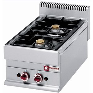 Diamond Tabletop stove | 2 burners | 5 kw + 3.6 kw | 400x650x (H) 280mm