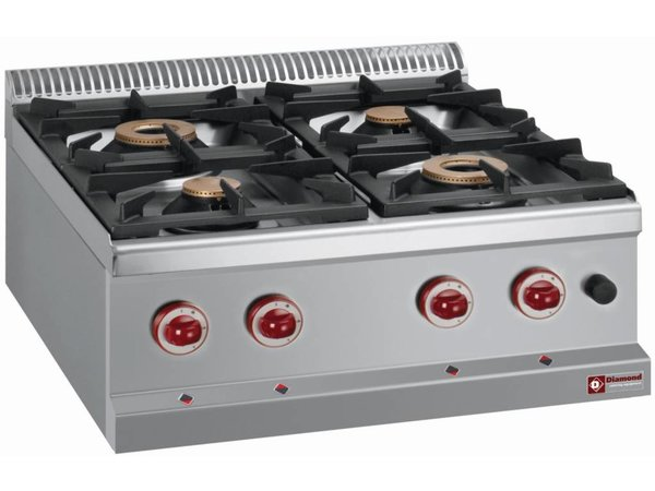 Diamond Tabletop stove | 4 burners | 3,5kw + 6kw | 700x700x (H) 250mm