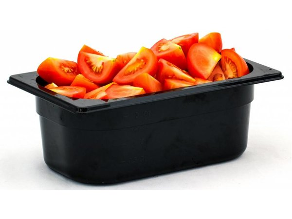 Hendi Gastronormbak 1/4 - 100 mm - zwart polycarbonaat