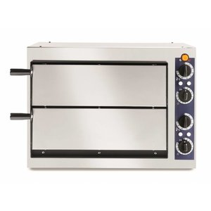Hendi Pizza-Ofen Basic Doppel 40 | Edelstahl | 2400W | 568x430x (H) 425mm