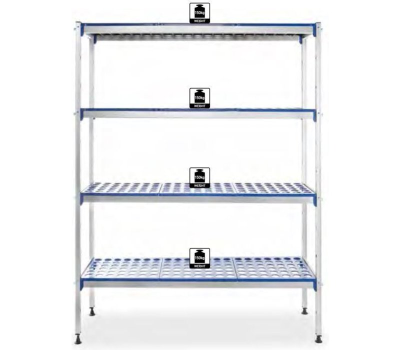 Hendi Lagerregale Aluminiumplanken - Polypropylen - 1280x405x1685 mm