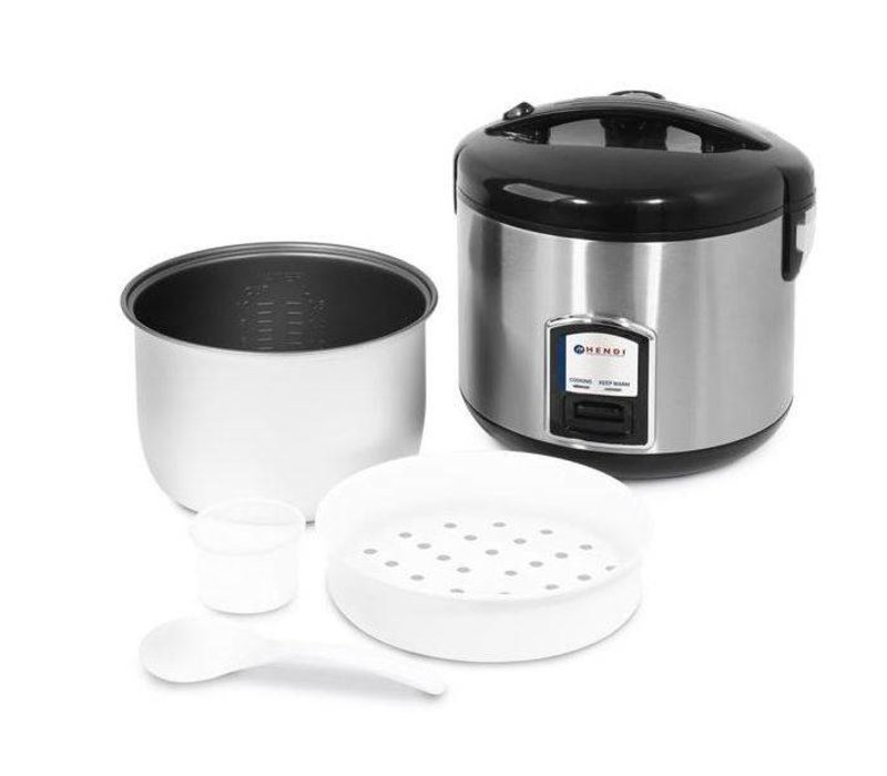 Hendi Complete Stainless Steel Rice Cooker Steam + Function + measuring cup + rice spoon + Steam Basket | 4-10 People 1,8 liter