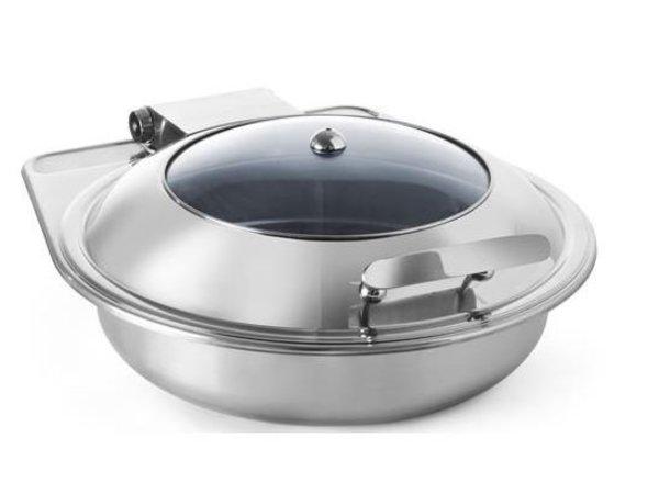 Hendi Chafing Dish RVS Rond | Glazen Deksel | Inductie