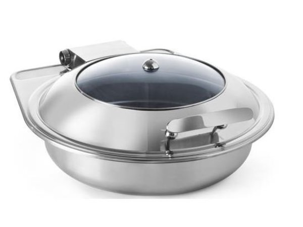 Hendi Chafing Dish Stainless Steel Round   Glass Lid   Induction