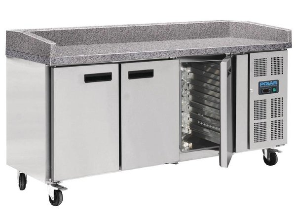 Polar Cool Workbench - Stainless Steel - 3 door - 100x202x (h) 80cm With Marble countertop