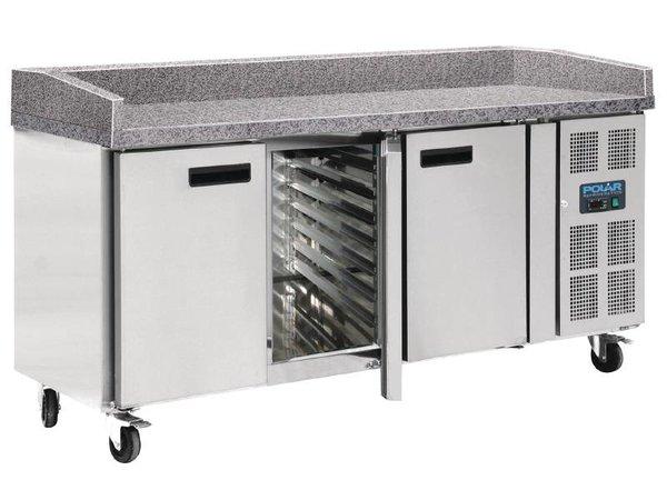 Polar Coole Workbench - RVS - 3 Türen - 100x202x (h) 80cm mit Marmor-Arbeitsplatte