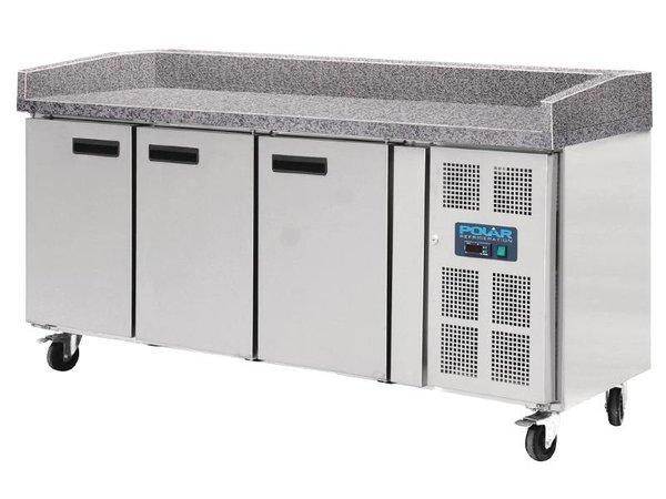 Polar Koelwerkbank - RVS - 3 deurs - 100x202x(h)80cm Met Marmeren Werkblad