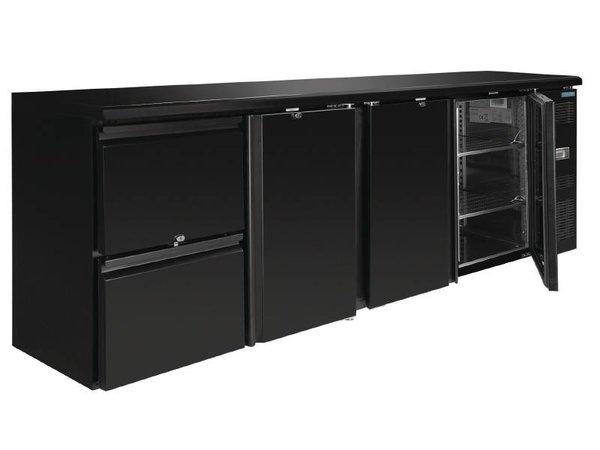 Polar Blind Getränke Kühler 3 Türen mit 2 Schubladen - 698 Liter - 2542x513x (H) 860mm