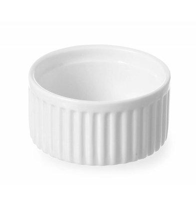 Hendi Ramekin Ribbed - 70x70x35 mm - White - Porcelain
